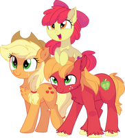 Apple Bloom, Applejack and Big Mac Vector - Family by CyanLightning