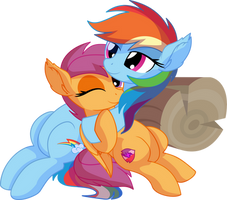Rainbow Dash and Scootaloo Vector - Rainbow's Hug