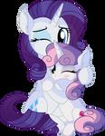 Rarity And Sweetie Belle Vector - Sister's Hug