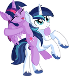 Twilight Sparkle and Shining Armor - Riding by CyanLightning