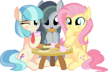 Fluttershy Coco Pommel and Marble Pie - Lunch by CyanLightning
