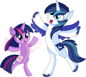 Twilight Sparkle and Shining Armor - Princesses by CyanLightning