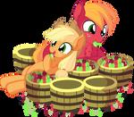 Big Mac and Applejack - Eating Apples by CyanLightning