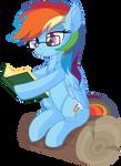 Rainbow Dash Vector 31 - Reading Book by CyanLightning