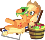 Applejack Vector 25 - Reading and Eating Apple by CyanLightning