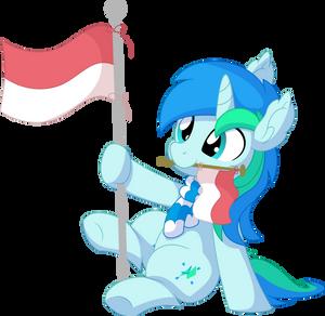 Cyan Lightning Vector 21 - Indonesian Flag