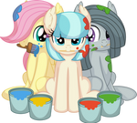 Fluttershy Coco Pommel and Marble Pie Vector Paint