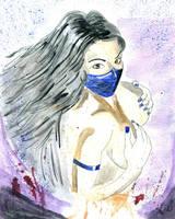 Kitana Mortal Kombat Watercolor Painting by Chuck-K