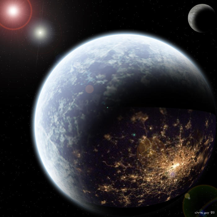 paintings planets and cities - photo #24