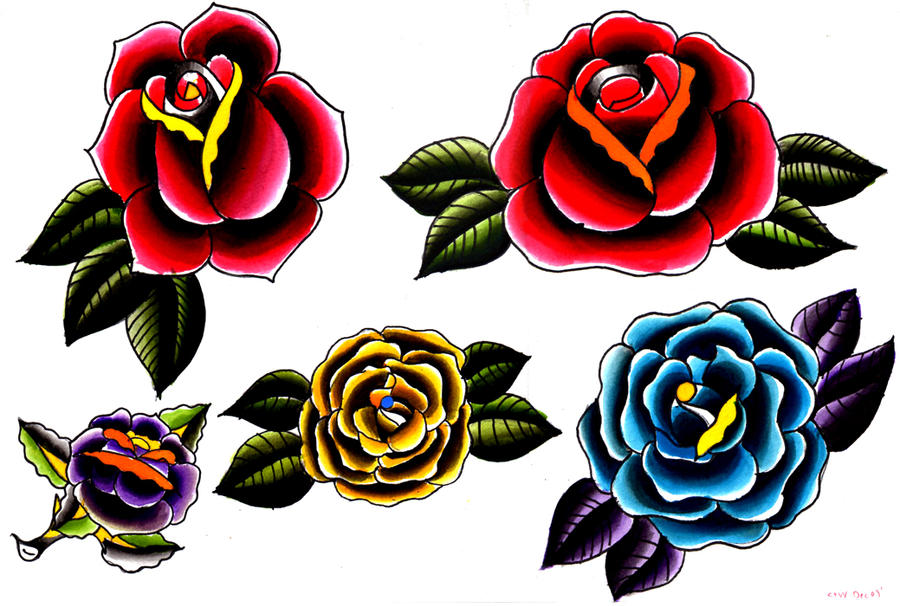 tattoo flash roses by wilkamania on deviantart