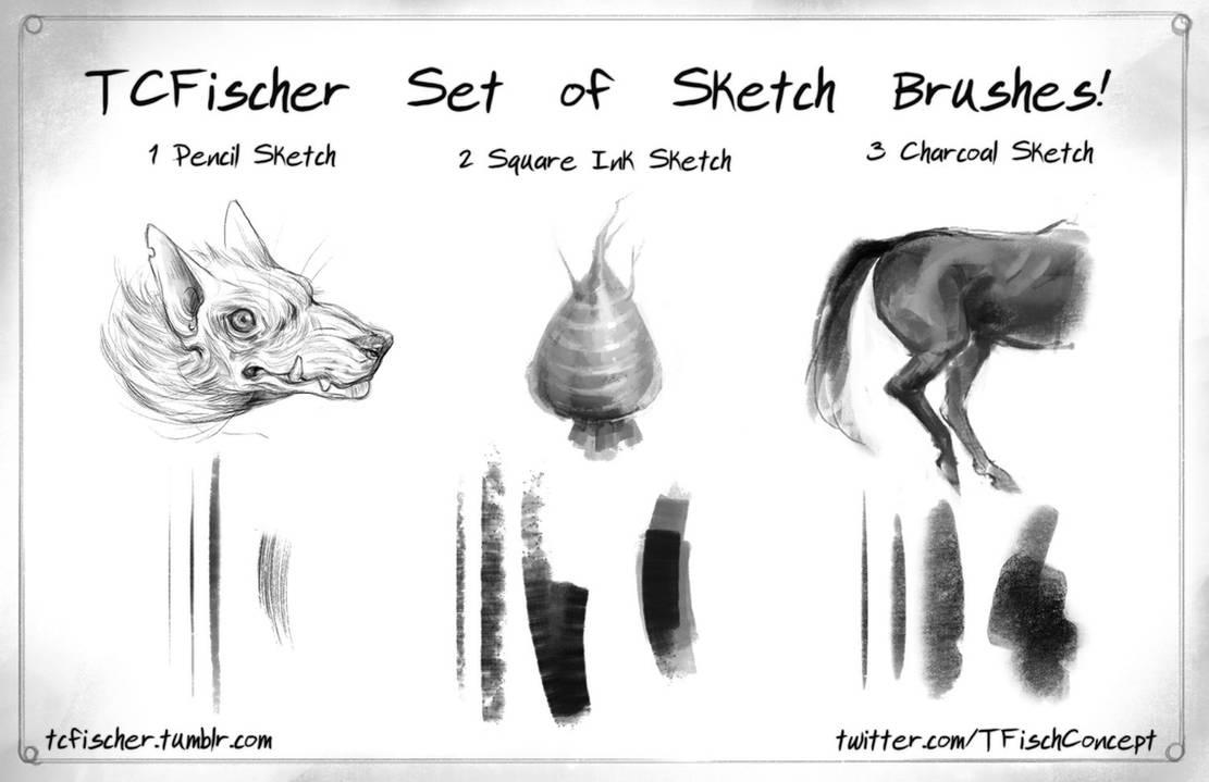 Photoshop sketch brushes set of 3 by beastysakura