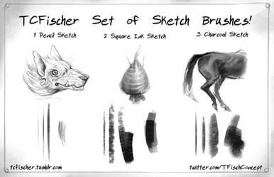 Photoshop Sketch brushes set of 3! by Beastysakura