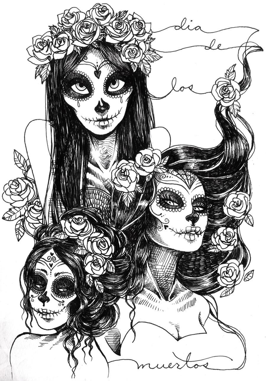Beautiful Sugar Skulls Drawings More