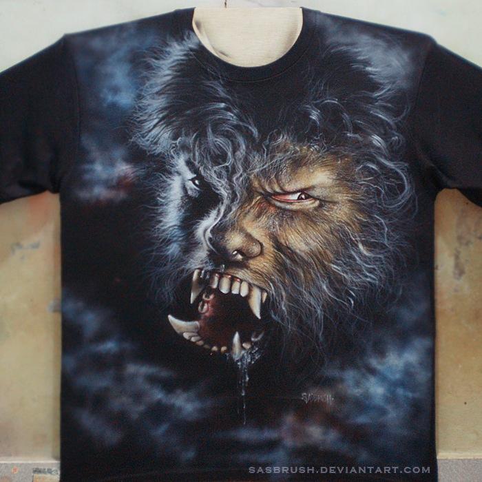 airbrush T-shirt wolf
