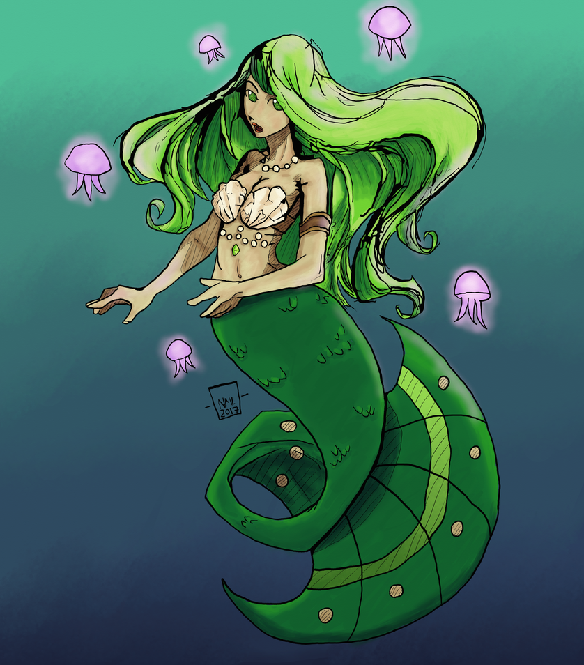 Mermaid inked and coloured by busch-art