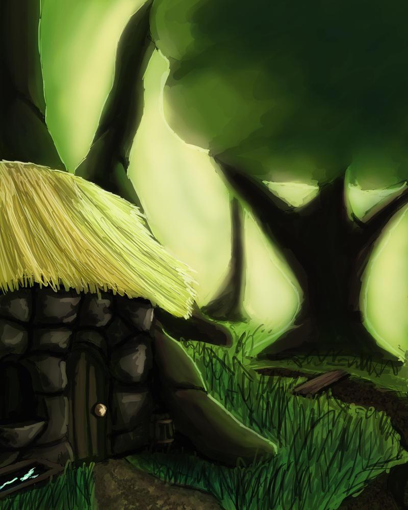 hut in the woods by busch-art