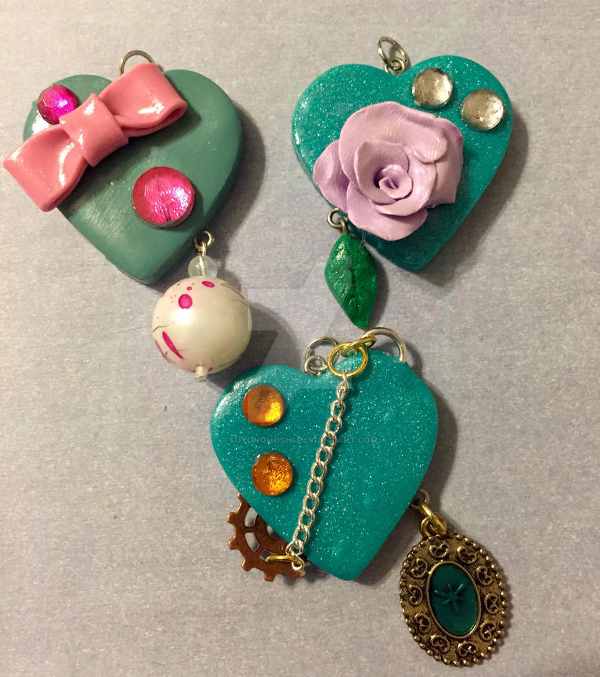 Clay Heart Pendants 04 by FuyunoHoshi
