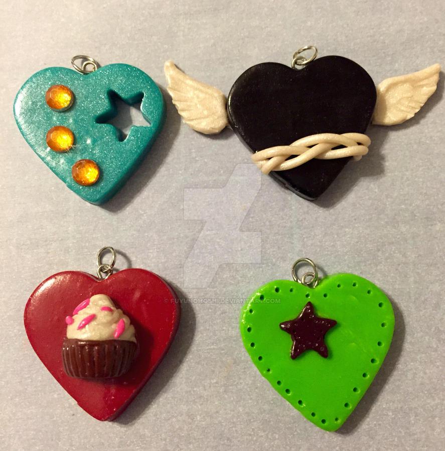 Clay Heart Pendants 05 by FuyunoHoshi
