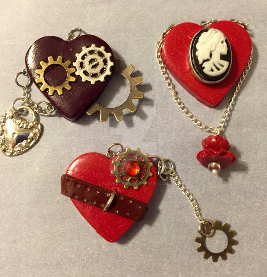 Clay Heart Pendants 07 by FuyunoHoshi