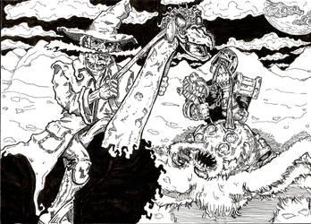 El Bigote and Undead Dredd by Flip-R