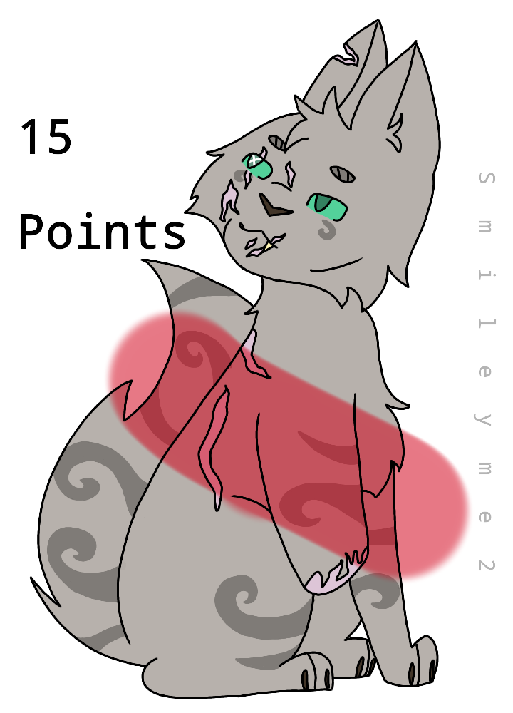 15 Point Scarred/Amputee Cat Adoptable CLOSED by Smileyme2
