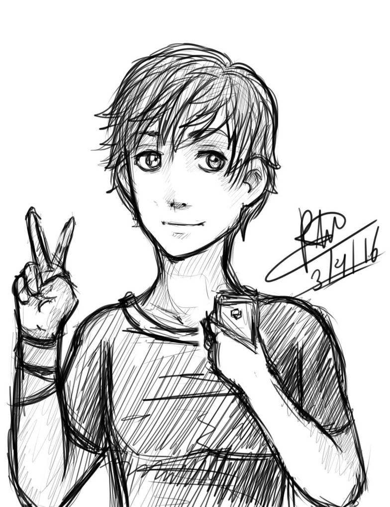 Selfie boy sketch by robert2715