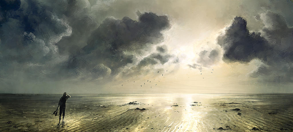 Low tide - Painting by Grimhel