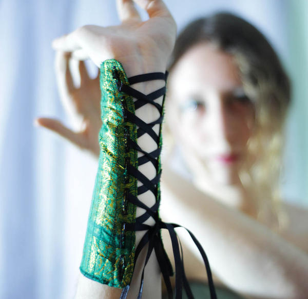 Elven Green and Black Bracers by TEMPERATE-SAGE