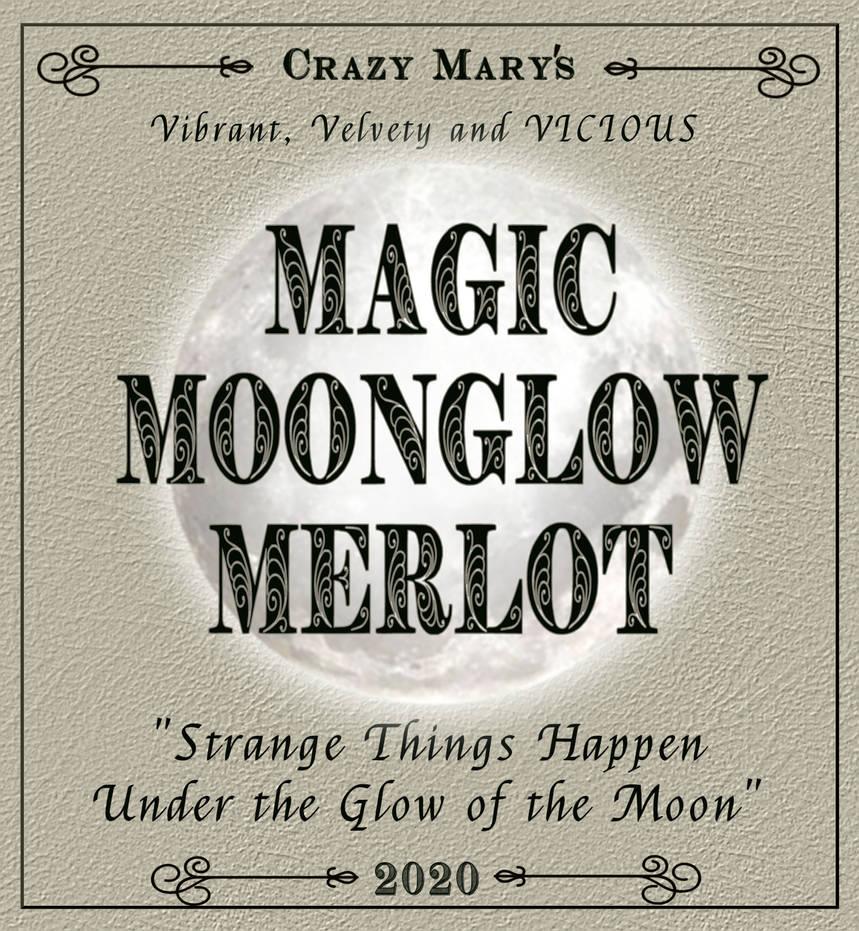 Magic Moonglow Merlot label for Halloween bottle
