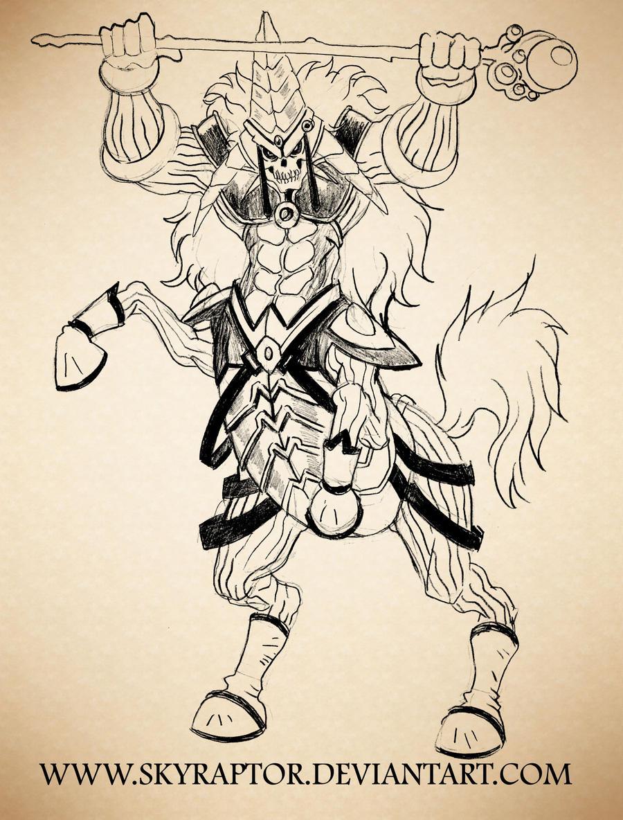 Skull Centaur Magician by skyraptor