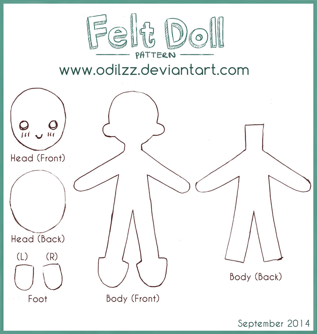 Felt doll pattern new by odilzz on deviantart for Felt plushie templates