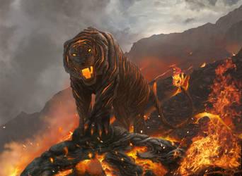 Cindermaw tiger (aka The floor is lava) by Meteorskies
