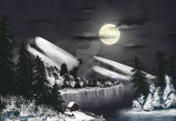 Winter Moon (Bob Ross) by Zee-qow