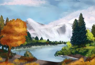 Mountain Lake (Bob Ross) by Zee-qow