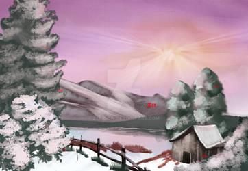 Winter Glow (Bob Ross) by Zee-qow