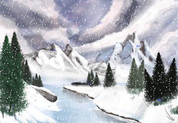 Snow Fall (Bob Ross) by Zee-qow