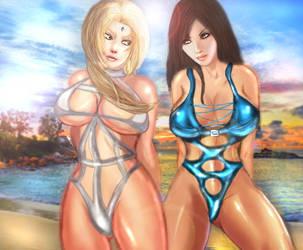 Tsunade VS Tifa by xkalipso