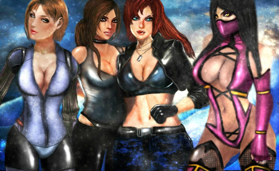 Jill,Lara Croft,Shepard and Mileena-winter by xkalipso