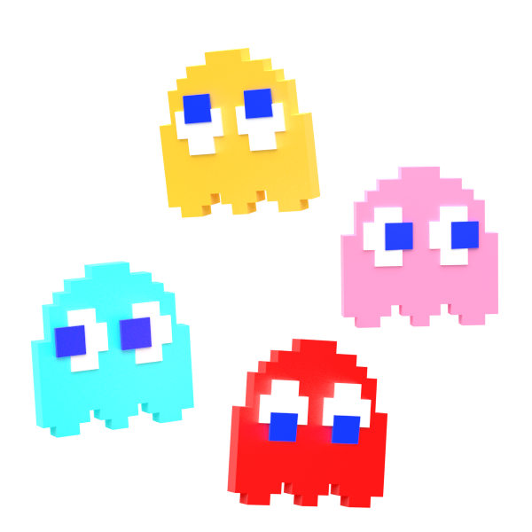 This is a graphic of Peaceful Pictures of Pacman Ghosts