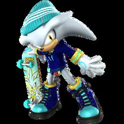 Silver The Hedgehog: Skateboarder Render