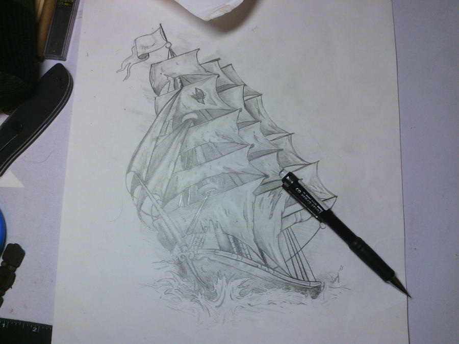 Ship Tattoo Sketch Pirate Ship Tattoo Sketch by