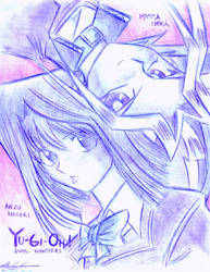 Anzu and Yami on Linen by mingming07