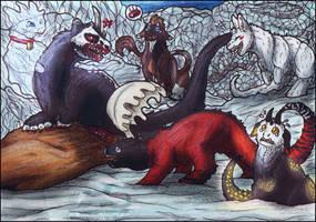 This is my prey! - Lumikki, Venus, Azrael (Kukuri) by KarasuShade