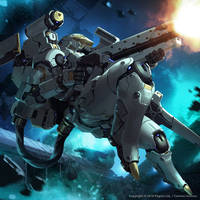 Mech space battle by Jessada-Art