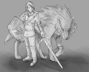 Link and wolf link ~WIP/Sketch by ReviWolfe