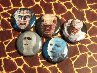 Hellraiser Pin-On Punk Buttons A - Set of 5 by MrCadavero