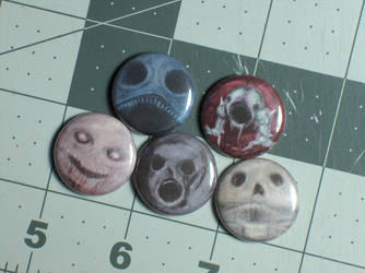 Hellion Pin-On Punk Buttons A - Set of 5 by MrCadavero
