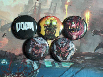 Doom 4 Pin-On Punk Buttons A - Set of 5 by MrCadavero