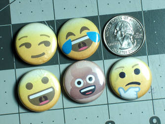 Emoji Pin-On Punk Buttons A - Set of 5 by MrCadavero