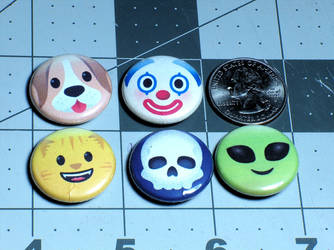 Emoji Pin-On Punk Buttons B - Set of 5 by MrCadavero
